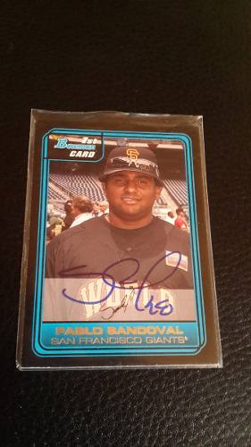 Ub Pablo Sandoval Autografo Barajita 1st Bowman Card Rookie
