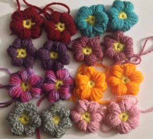 Oferta! Florecitas Tejidos A Crochet P/apliques Y Bisuteria