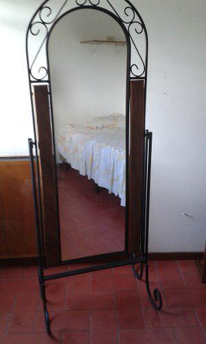 Espejo Laterales Madera Y Base Hierro Forjado