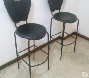 2 sillas altas de bar o cocina de hierro posot class for Sillas altas para barra