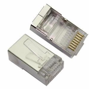 Cat5e Rj45 Plug Ftp, Conector Macho De Metal Y Policarbonato