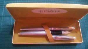 Bolígrafo Y Pluma Fuente Parker En Plata Y Oro Original