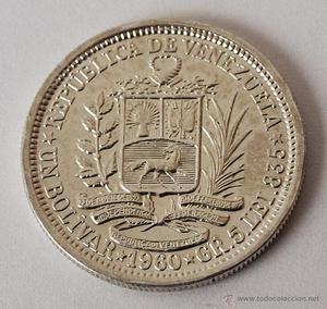 moneda de plata venezolana de . GR 5. Lei 835.