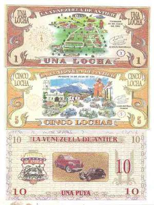 Set De Billetes De La Venezuela De Antier, 3 Pz. Nuevecitos