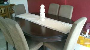 Comedor madera ovalado posot class for Comedor redondo de madera de 6 sillas