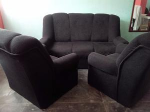 Juego De Muebles Recibo Sala Negro De 3 Puestos 2 Individual