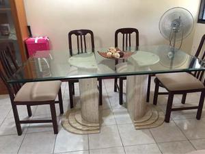 Mesa Comedor De Mármol 6 Puestos,vidrio Biselado 20 Mm