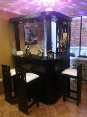 Mueble Bar Tipo L En Madera Laqueado En Color Negro