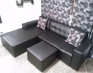 Mueble Modular Tipo L Negro Semicuero 3 Piezas Con Todo