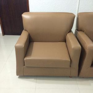 Muebles De Cuero Marrón (par) Individuales - Intactos