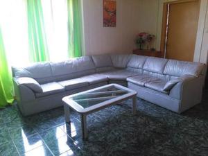 Sofa Modular 6 Puestos Semicuero Con Mesa De Centro
