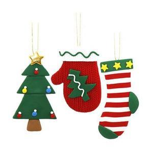 Adorno De Navidad Para Colgar Set 3 Pzs En Arcilla