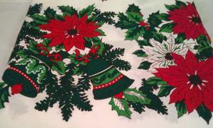 Mantel De Navidad Rectángular - Flores Navidad