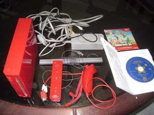 Nintendo Wii Rojo Y 2 Juegos