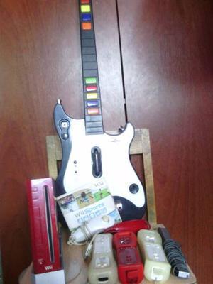 Wii Rojo Mas Guitarra Y 3 Controles 1 Juego Original Negoc