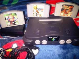 Consola Nintendo 64 Mas 3 Juegos.