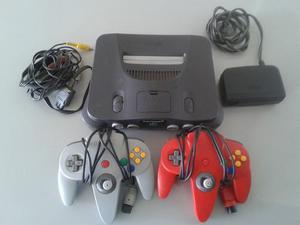 Nintendo 64 +2 Controles + Fuente De Poder + Cables