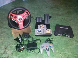 Nintendo 64, Con Un Control, Volante Y 3 Juegos