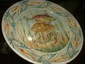 Plato De Porcelana Grande Made In Italy Con Dibujo De Peces