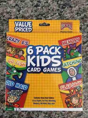 6 Juegos En 1: Cartas Infantiles Cotillón Fiesta Niños