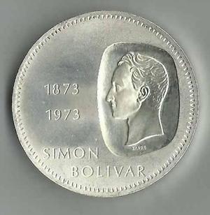 Moneda De Plata Conmemorativa. 10 Bolívares. Doblón. 1973