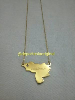 Collar Cadenas De Mapa De Venezuela Acero Inoxidable