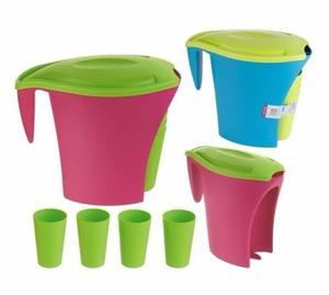 Jarras De Plastico Con 4 Vasos