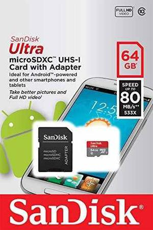 Memoria Micro Sd Hc Uhs Sandisk 64gb Clase 10 Original Gopro