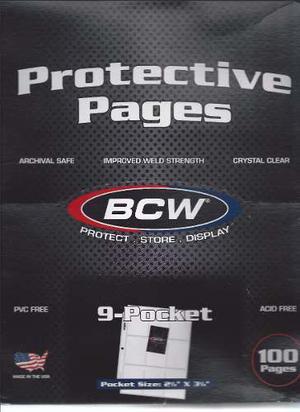 Páginas U Hojas Protectoras Para Tarjeta Bcw 9 Bolsillos