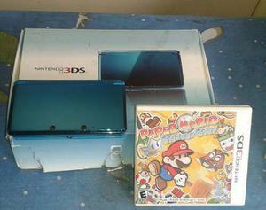 Nintendo 3ds Azul Con Juego De Paper Mario Sticker