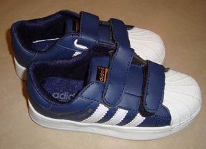 Kp3 Zapatos Adidas Superstar Cierre Azul Blanco Niños