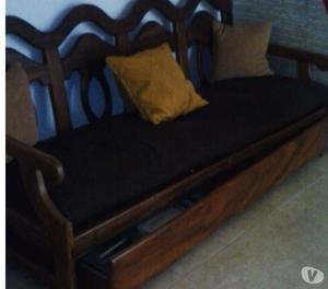 Sofa Cama De Madera (saman) Como Nuevo Con Cojines
