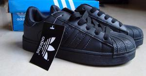 Zapatos Adidas Superstar Todo Negro Para Niños