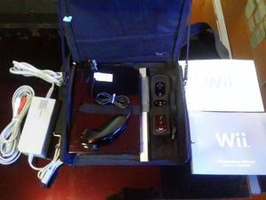 Nintendo Wii Negro Chipeado Con Su Bolso. Como Nuevo