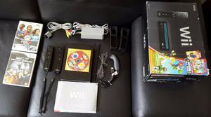 Nintendo Wii Negro Usado Como Nuevo 2 Controles 3 Juegos