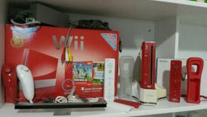 Wii Rojo + Base Con Batería + Juegos + Controles