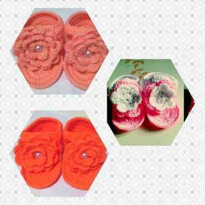 Zapato O Sandalia Tejida A Crochet Para Bebe