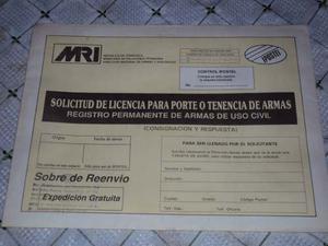 Clecionable Antiguo Sobre-planilla -solicitud Porte De Armas