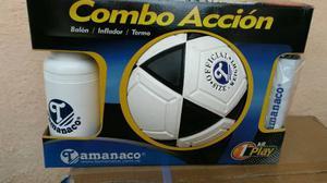 Combo Balon De Futbol #4 Tamanaco + Termo+ Bomba