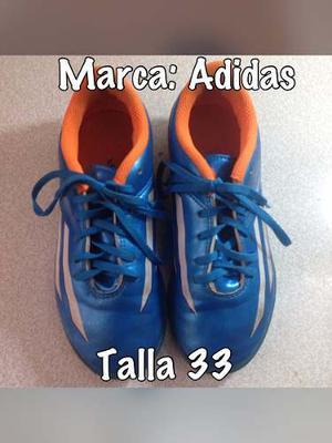 Tacos De Futbol Sala Adidas Talla 33 Usados En Buen Estado!!