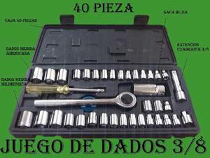 Juego De Dados Y Rache 3/8 De 40 Piezas / Nuevo En Caja