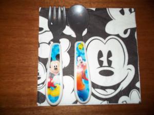Juego De Cubiertos De Bebes De Metal Y Plastico Mickey
