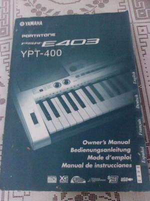 MANUAL ORIGINAL DE TECLADO YAMAHA PSR E403 Y YPT 400