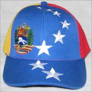 Gorra Tricolor De Venezuela 8 Estrellas + Escudo