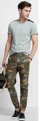 Pantalones Joggers Para Hombre Camuflados Tubito Mono