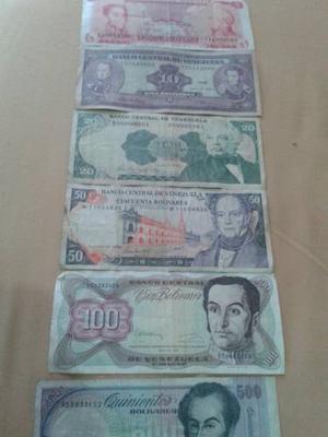 Coleccion De 6 Billetes Venezolanos Antiguos Para Coleccion