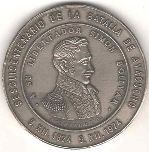 Medalla De Bolivar Sesquicentenario La Batalla De Ayacucho