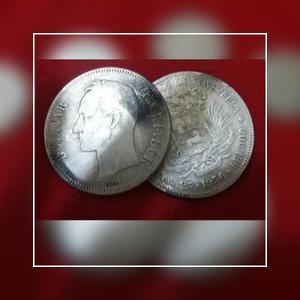 Moneda De Plata 25 Gram Lei 900. Estados Unidos De Venezuela