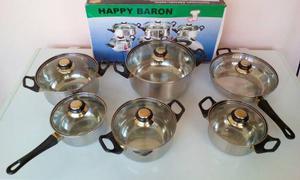 Juego De Ollas Happy Baron 10 Piezas Acero Inoxidable Oferta
