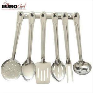 Set De 7 Utencilios Acero Inoxidable Euro Chef